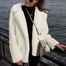 Damen Faux Pelz Teddyjacke Fleece Jacken Revers Wintermantel Warme Outwear 34-44