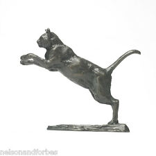 Solid Bronze Cat Sculpture Leaping Cat by Sue Maclaurin