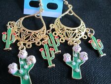 Gold Chandelier dangle/drop earrings Bright Colorful Summer Cactus Enamel
