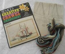 VINTAGE SEMCO CREWEL EMBROIDERY KIT NO 161 SOPHIA JANE SAILING SHIP WITH WOOLS