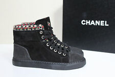 New sz 6 / 36 CHANEL High Top Ankle Lace up Sneaker Boot CC Logo Shoes
