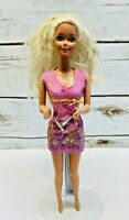 "MATTEL BARBIE Doll Long Blonde Hair Blue Eyes Pink Dress 12"" Tall Used Free Ship"