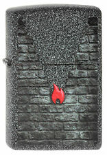 ZIPPO Feuerzeug GREY BRICK AND FLAME in Iron Stone Mauer Zippo Flamme NEU OVP