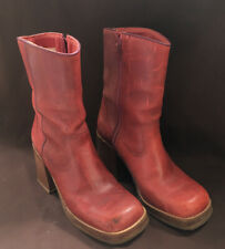 70s Vtg Platform Zipper Boots Square Toe Wooden Block Red Leather Connie Size 8