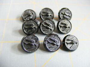 """9 Matching Antique Flying Bird Design Black Glass Buttons Loop Shank 1/2"""""""