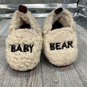 Dearfoams 26196 Baby Bear Slipper Size 5/6 Toddler Red Plaid Faux Fur