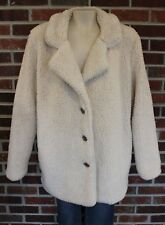 Women's Fuzzy Teddy Pile Coat Jacket Size L / XL White SUPER SOFT Shaggy Coat
