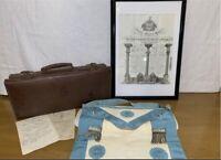 Vintage English Master Mason Lot - Apron Case & Framed Grand Lodge Certificate