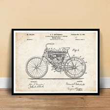 """1901 MOTORCYCLE ORIGINAL FIRST CYCLE INVENTION PATENT ART POSTER 18x24"""" unframed"""