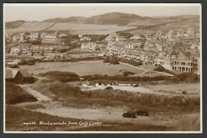 Postcard Woolacombe nr Ilfracombe Devon view of houses from Golf Links RP