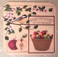 4 Longaberger Basket Coasters Share The Bounty Of The Season Country Apples New