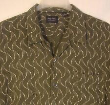 INDIGO PALMS Short Sleeve Camp Shirt Lrg Green Wavy Textures Rayon Tommy Bahama