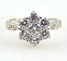 Gorgeous Woman's Flower Round Cut White Sapphire 925 Silver Ring Size 10
