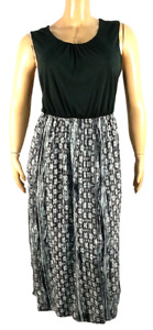 Faded glory black white tribal sleeveless spandex stretch plus maxi dress 3X