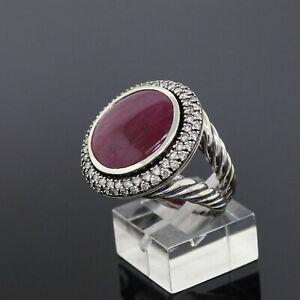 David Yurman 925 Sterling Silver Diamond and 17mm Ruby Round Cerise Ring Size 7