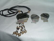 And Marble Necklace And Earrings Set Vintage Art Nouveau Mother Of Pearl