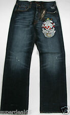 Ed Hardy Christian Audigier Love Kills Slowly Rhinstone 100% Cotton Denim Jeans
