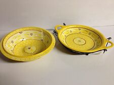 New listing Old World 2-pc Shadow Baker Bowl Set Yellow Flower Ceramic Bowls Holder stand
