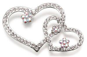 "Set of 2 10"" Long Wedding Bouquet Picks - Double Heart or Butterfly"