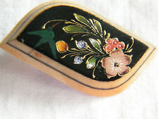 Beautiful Brooch Pin Wood Painted Flowers Bird  1 7/8 x 1 1/8 Inch CUTE