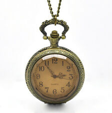 Full Size Pendant In Gift Box Pocket Watch Necklace Antiqued Steampunk Vintage