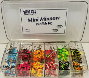 12 BIG EYE Ice Fish Jigs Mini Minnow Horizontal Walleye Panfish Crappie