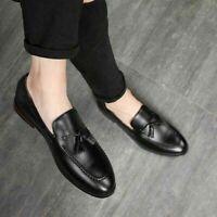 Chaussures habillées mocassins en cuir noir véritable pour hommes faits à la mai