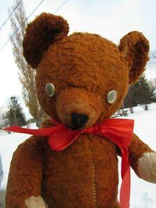 "ANTIQUE VINTAGE TEDDY BEAR JOINTED  GOOGLY MOVING EYES KNICKERBOCKER GUND 17"""
