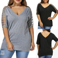 Sexy Women Casual Loose T Shirt Blouse Ladies Summer Short Sleeve Tops Plus Size