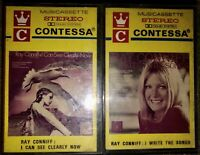 LOT OF 2 VINTAGE RAY CONNIFF CASSETTE TAPES PAPER LABELS CONTESSA MUST SEE LOOK!