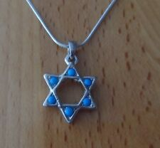 STAR OF DAVID PENDANT Stainless steel + Blue stones magen david Jewish,Judaica