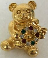 "Vintage Pin Back Gold Tone Bear Holding Christmas Wreath 1"" Rhinestones"