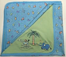 Carters John Lennon Blue Green Animal Parade Baby Blanket Giraffe Elephant Tree
