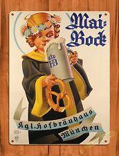 """TIN-UPS TIN SIGN """"Mai Bock"""" Vintage Ale Alcohol Bar Rustic Wall Decor"""