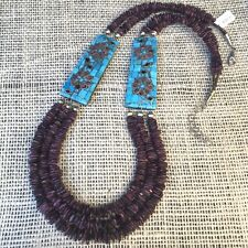 💜RAYMOND ROSETTA Santo Domingo Museum Quality Inlaid Turquoise Necklace NWT