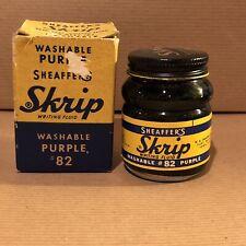 SHEAFFER's Skrip PURPLE Fountain PEN INK 1 2-oz Bottle BOX VINTAGE 1956-66