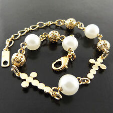 G/F Gold Antique Pearl Cross Design Bracelet Cuff Bangle Genuine Real 18K Yellow