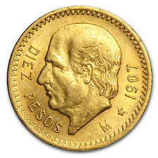 1907 Mexico Gold 10 Pesos XF - SKU #85490
