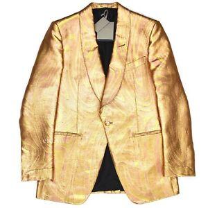 NWT $5k TOM FORD Gold Metallic Swirl Woven Blazer Sport Coat Men's 50 AUTHENTIC
