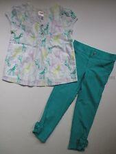 Gymboree Painting Pals Girls 3T Giraffe Shirt Top & Teal Jeggings Pants Set NWT