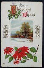 ANTIQUE CHRISTMAS Card Embossed design unused