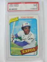 1980 Topps Montreal Expos #125 TONY PEREZ PSA 9 Mint Baseball Card