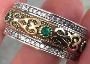Natural Green Emerald & Diamond 925 & 14K Yellow gold ring Size 11.5 band 11 1/2