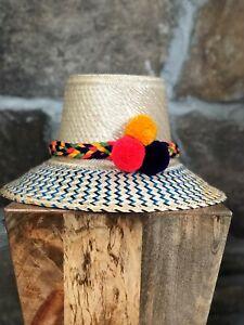MULTICOLORS Wayuu Hat Straw Pompom Hat Sun hat Panana Hat PALM BEACH HAT M/L