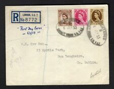 1953 QEII Wildings 5d+8d+1s Registered FDC TO IRELAND ; TYPED ADDRESS