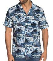 John Varvatos Star USA Mens Short Sleeve Skip Island Skull Print Shirt Deep Blue