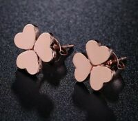 18K REAL ROSE GOLD FILLED STUD EARRINGS 3 ROMANTIC HEARTS  CLOVER  GIFT  RG29