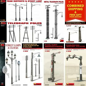 LAMPS, POLES, CLOCKS MINIART 1/35 PLASTIC MODEL KIT BUILDING ACCESSORIES