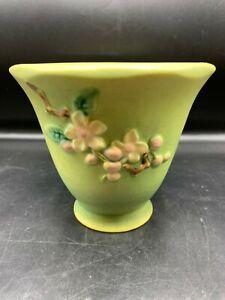 VINTAGE ROSEVILLE POTTERY GREEN APPLE BLOSSOM PLANTER POT 356-5