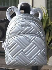 MICHAEL KORS ABBEY MEDIUM BACKPACK BAG SILVER QUILTED LEATHER $498